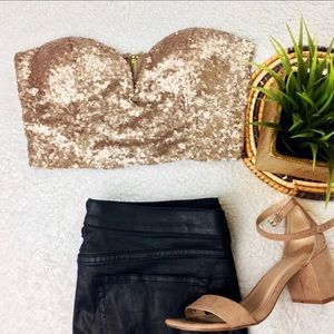 Tobi sequin gold/bronze bustier crop top
